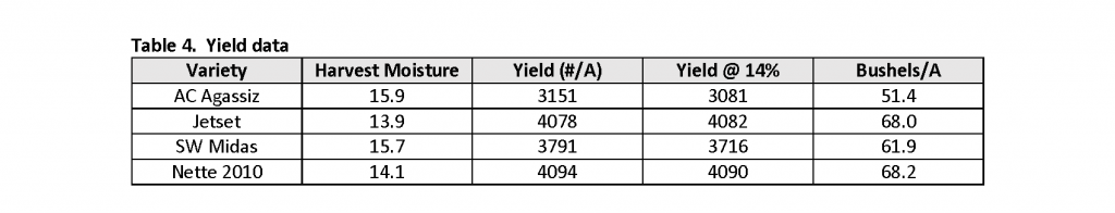 TABLE 4: YIELD DATA