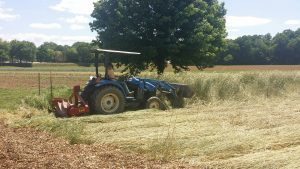 Roller crimper rolls down cover crops in Clemson, SC