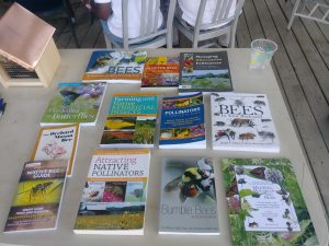 A selection of books on pollinators and beneficial habitat.