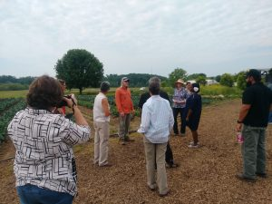David Robb gives a tour of the on farm practices to encourage beneficial insects.
