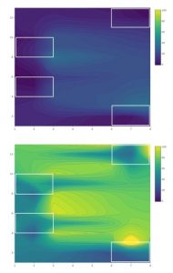 Contour plots showing mean Drosophila suzukii abundance at the conventional site in 2019 during A) weeks 7-8 and B) weeks 11-13. White boxes represent areas where traps were deployed.