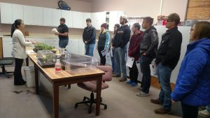 Figure 4. Dr. Wenjing Guan taught cucumber grafting to undergraduate students from Vincennes University at Southwest Purdue Ag Center in Nov. 2017