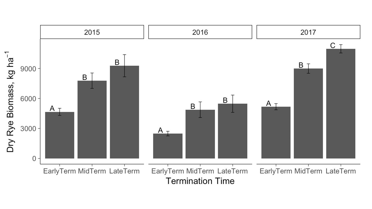Figure 8. Dry rye biomass post hoc comparisons of cover crop termination treatments, 2015-2017. Letter groupings indicate significantly different means within each year at P