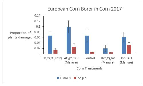 Fig. 15. Proportion of corn plants damaged by ECB tunnels and lodging. Average+SE.