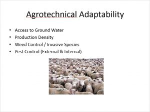 Agrotechnical Adaptability. Operators at Manzini Farm were concerned about their capacity to adapt the farm on a continual basis. Sheep and lamb rapidly proceed through several stages of development that require constant adaptation and flexibility. Table grapes, perhaps, offer a bit slower progression, less urgency in operational shifts, and more stability. Of primary concern was the farm's ability to adapt and respond as needed, and the additional skill sets and training required in this environment.