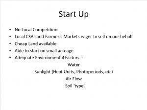 Start Up. This image presents information Manzini Farm considered when thinking about start up costs, resources and needs.