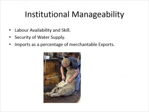 Institutional Manageability. A primary concern of Manzini Farms was whether they had the capacity-- or could find the capacity in the region-- to continue to manage table grapes and expand the operation. The farm also considered availability of new resources and skills needed for raising sheep and lamb.
