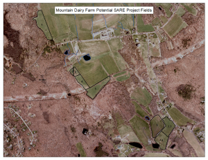 aerial view of Mountain Dairy fields in Mansfield, CT