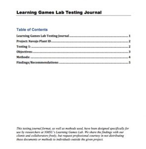 Table of contents page of a user-testing journal