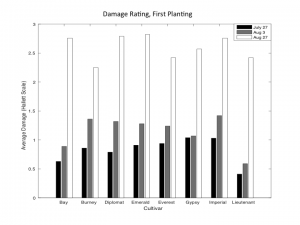 Chart of 6/10 planting Hallett Scale damage