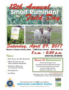 An announcement flyer with agenda items for the 12th Annual Small Ruminant Field Day event