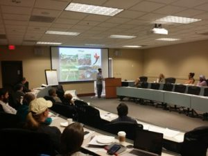 instructor presenting on cover crops
