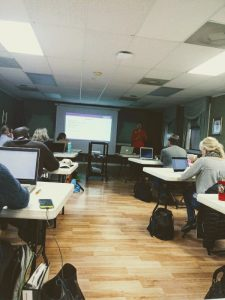 Donna Bowen teaches the class about best practices online for their farm businesses.