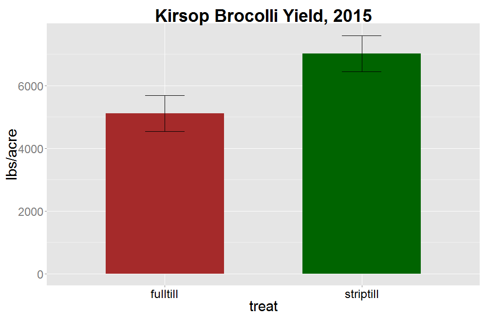 Figure 16. Broccoli yield at Kirsop Farm in 2015. P value =0.1.